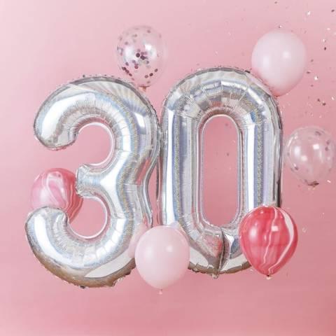 Bilde av Tallballong Sølv Folie 30 år 92cm