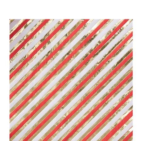 Bilde av Merry & Bright Gull/Rød Stripete Servietter Lunsj 33cm 20stk