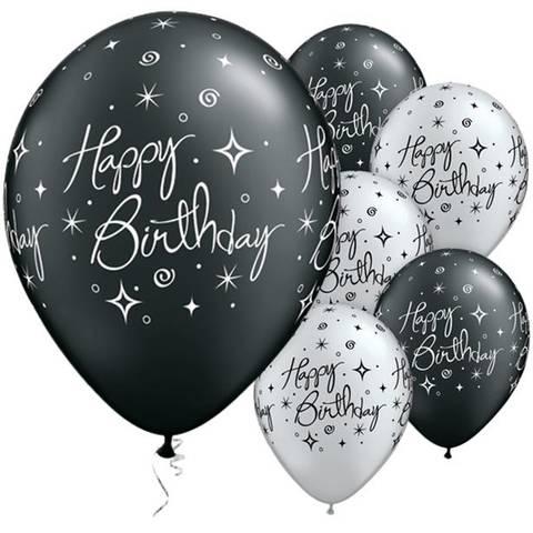 Bilde av Happy Birthday Sort & Sølv Glittrende Ballonger Latex 28cm 25stk