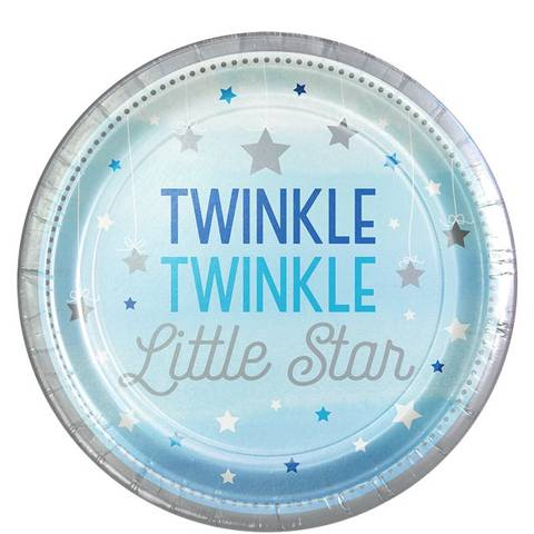 Bilde av Twinkle One Little Star Blå Papptallerkner 23cm 8stk