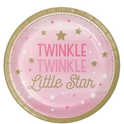 Bilde av Twinkle One Little Star Rosa Papptallerkner 23cm 8stk