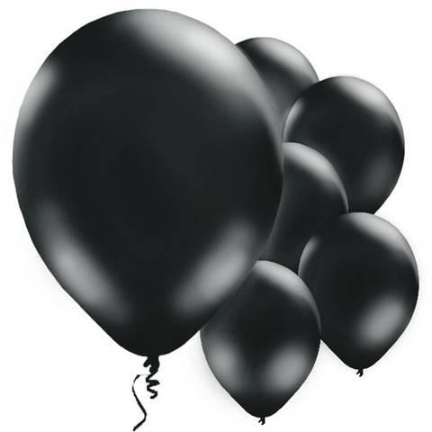 Bilde av Ballonger Sort Perle Lateks 28cm 10stk