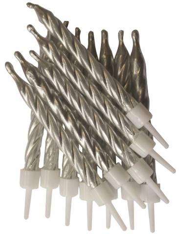 Bilde av Kakelys Metallic Sølv Spiral 12stk